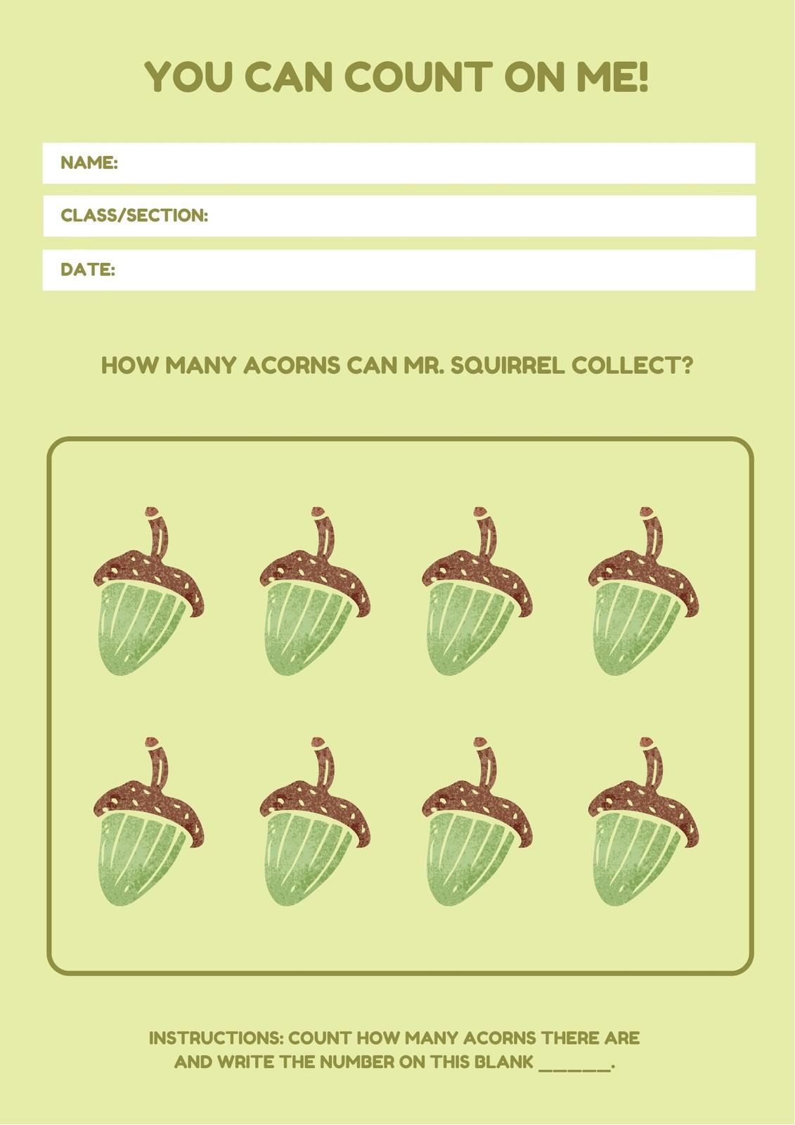 Green Math Game Counting Worksheet