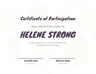 High-Quality, Printable Participation Certificate