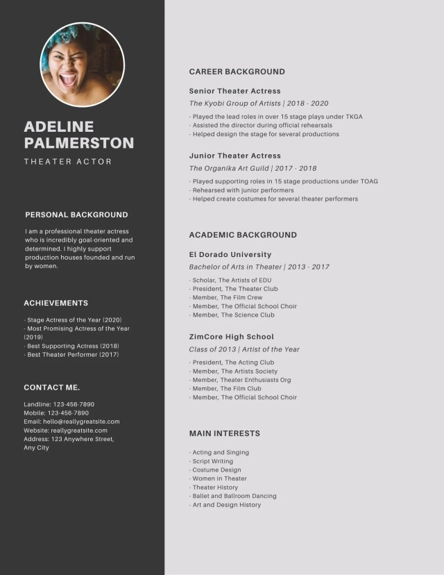 Customize 9+ Acting Resumes Templates Online - Canva
