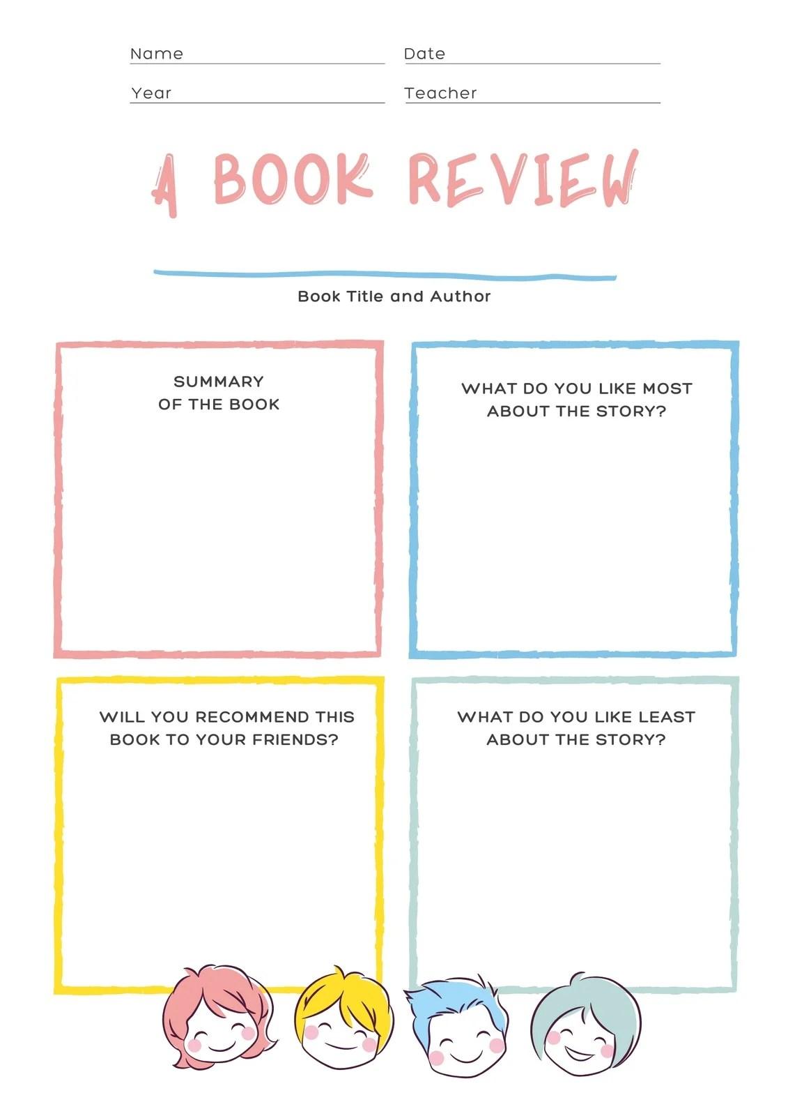 Pastel Primary School Book Review Worksheet