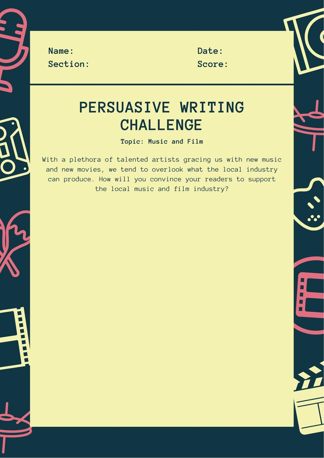 Blue Yellow Fun Persuasive Writing Prompt Worksheet