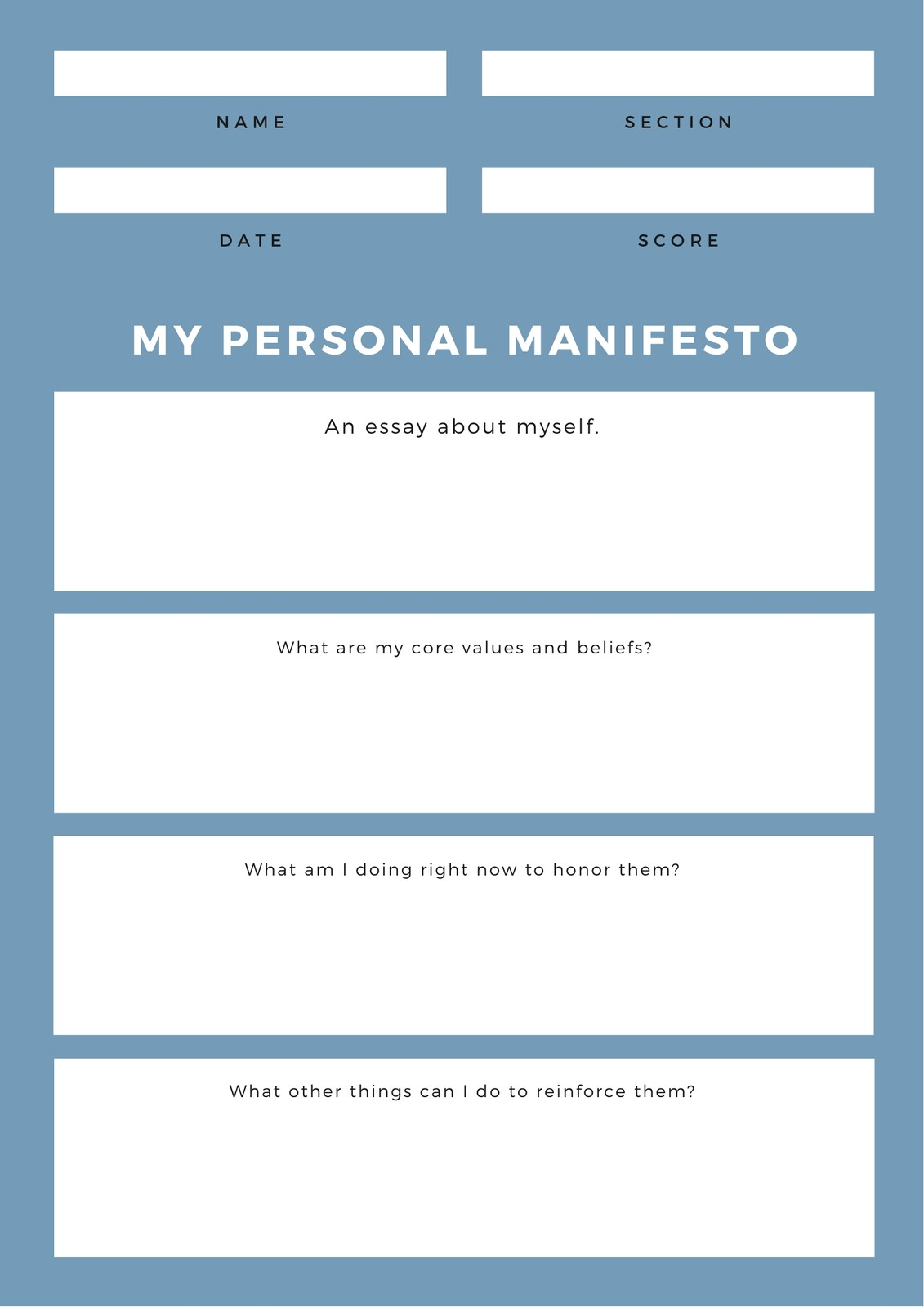 Blue And White Personal Simple Line Writing Prompt