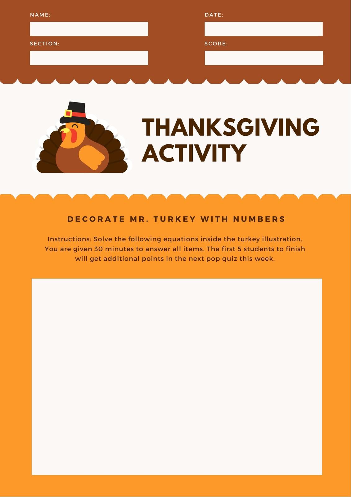 Orange Turkey Thanksgiving Math Games Worksheet
