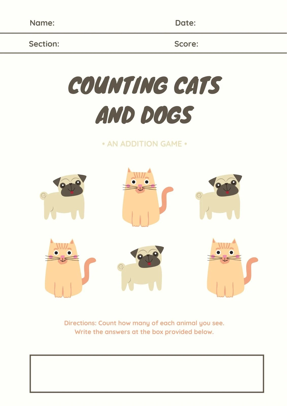 Cream Illustrated Cats And Dogs Addition Math Games