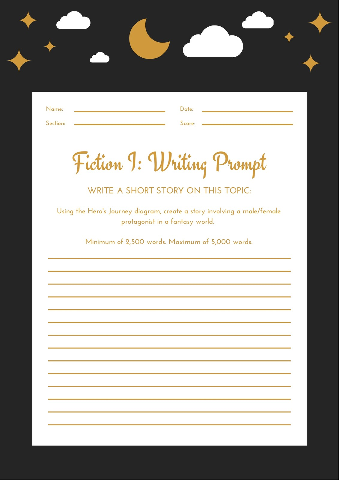 Black Gold White Fanfiction Writing Prompt Worksheet