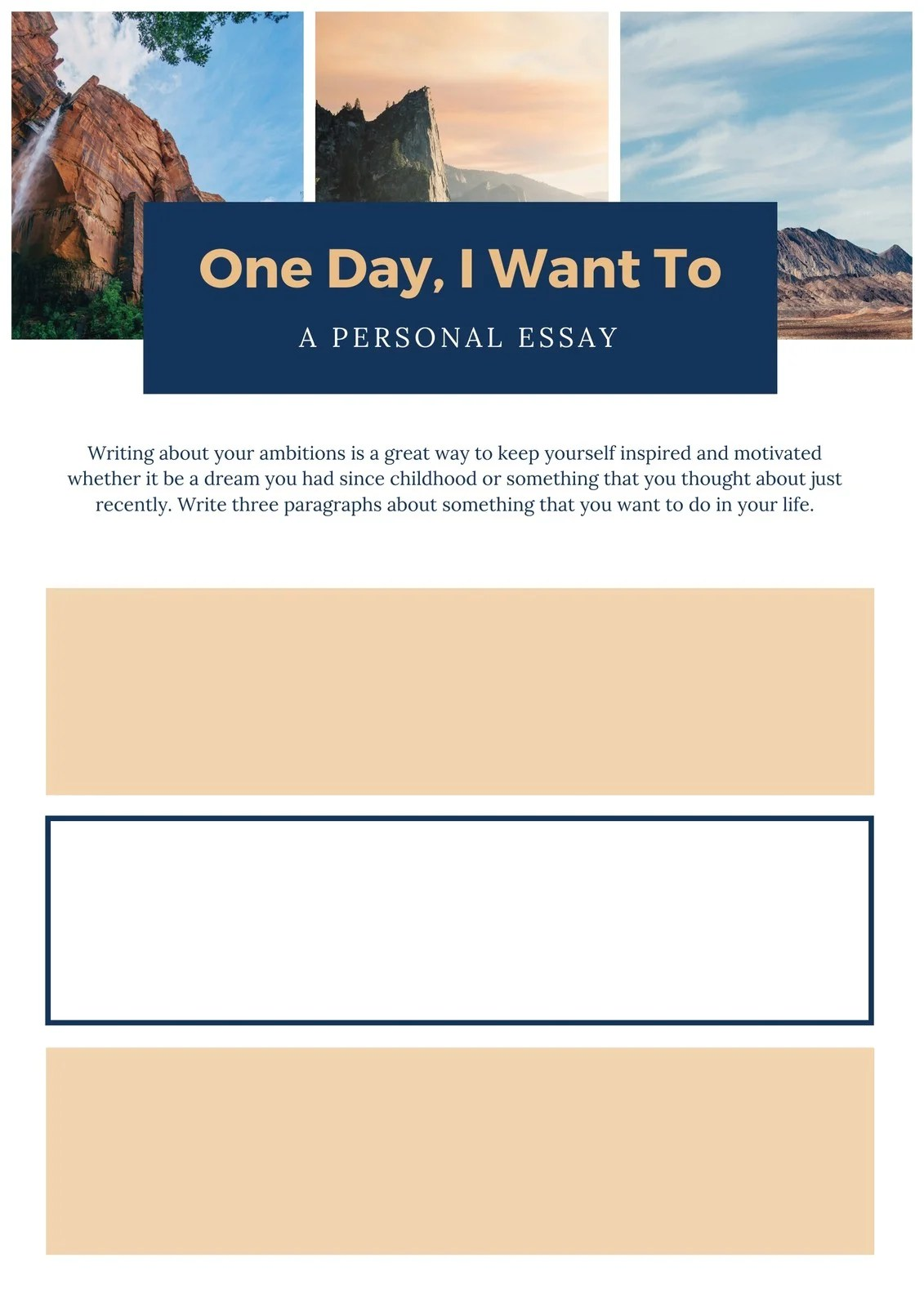 Header Photo Collage Personal Writing Prompt Worksheet