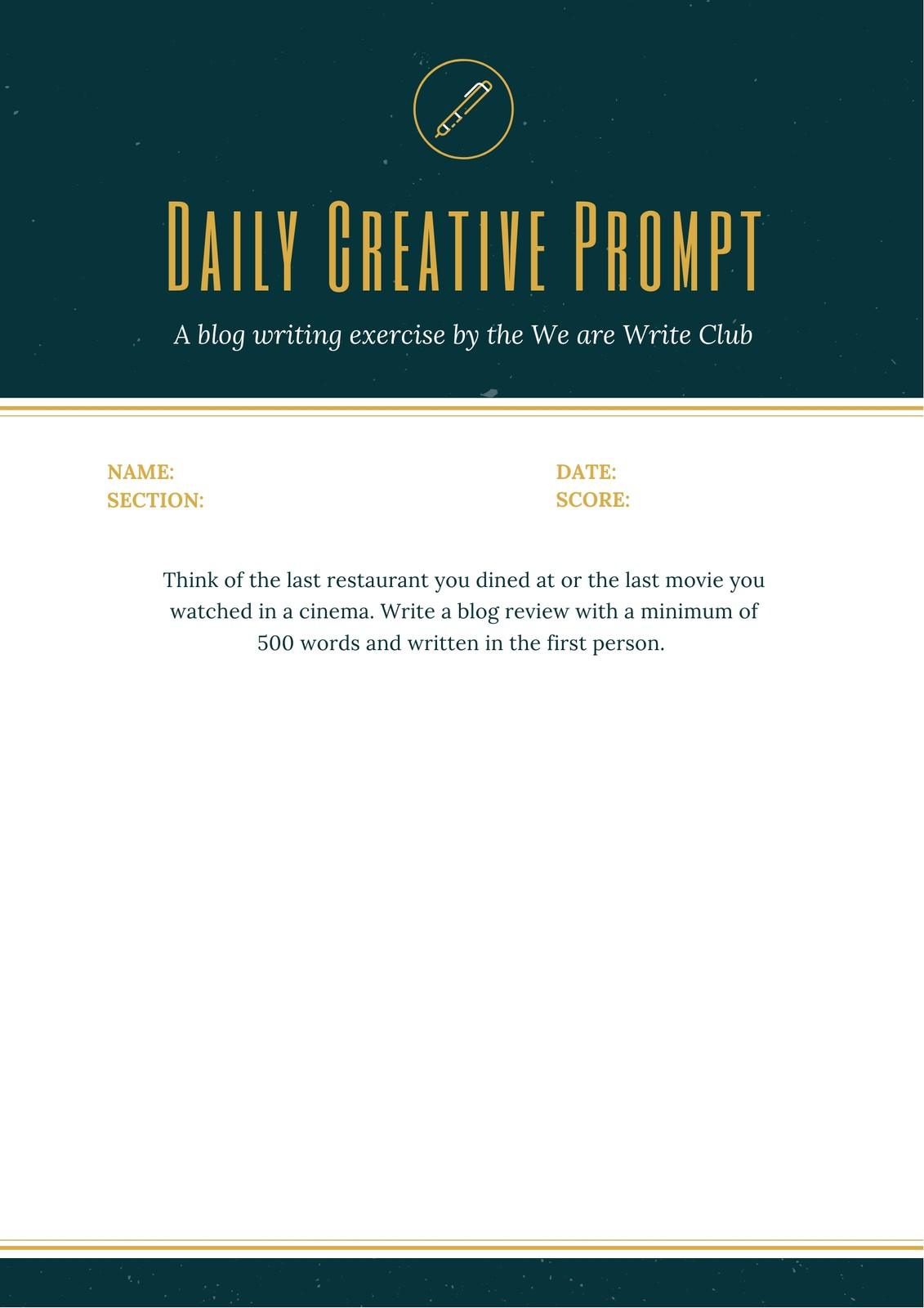 Dark Green Header Informational Writing Prompt Worksheet