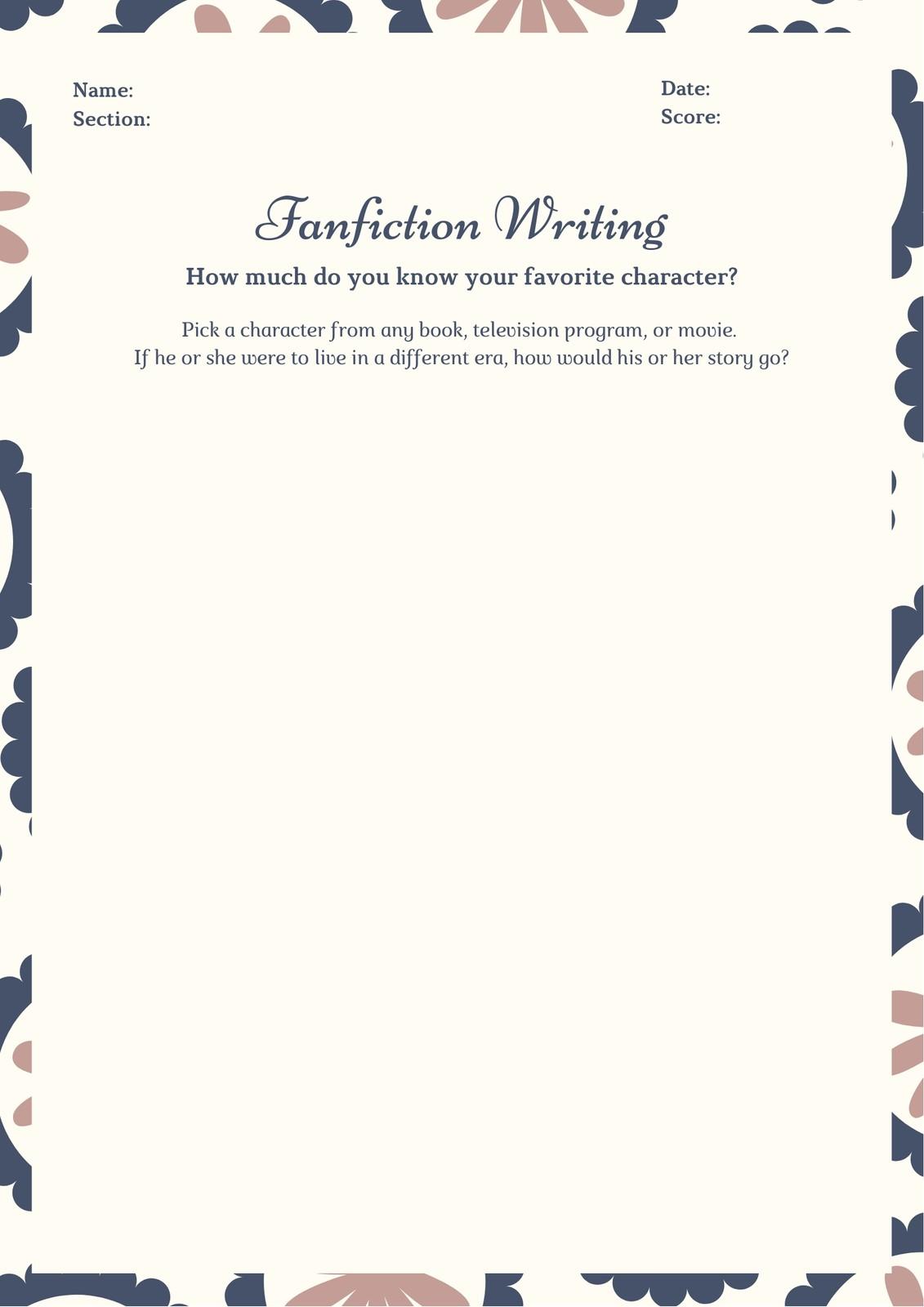Brown Blue Floral Fanfiction Writing Prompt Worksheet