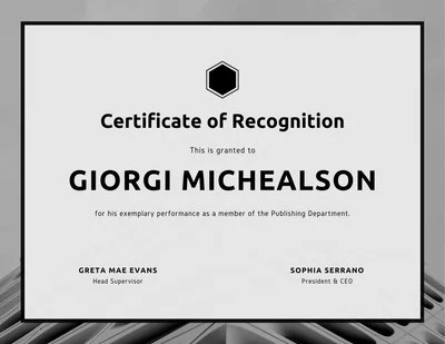 Black and White Simple Certificate of Recognition