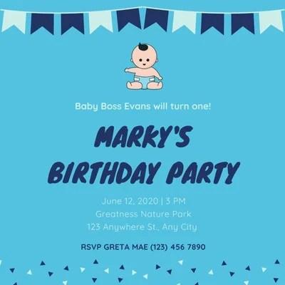 blank boss baby invitation card