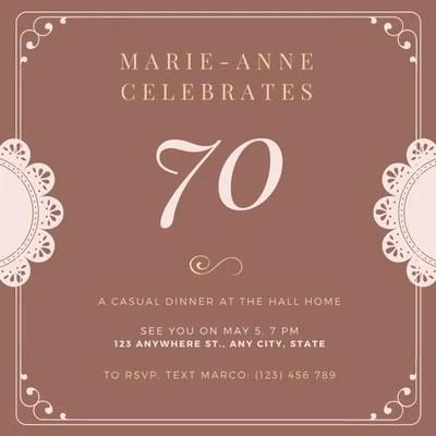 free 70th birthday invitations