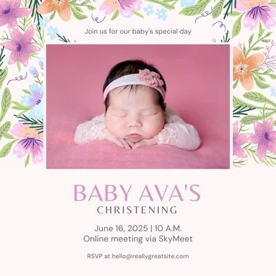 pink delicate floral christening animated square invitation