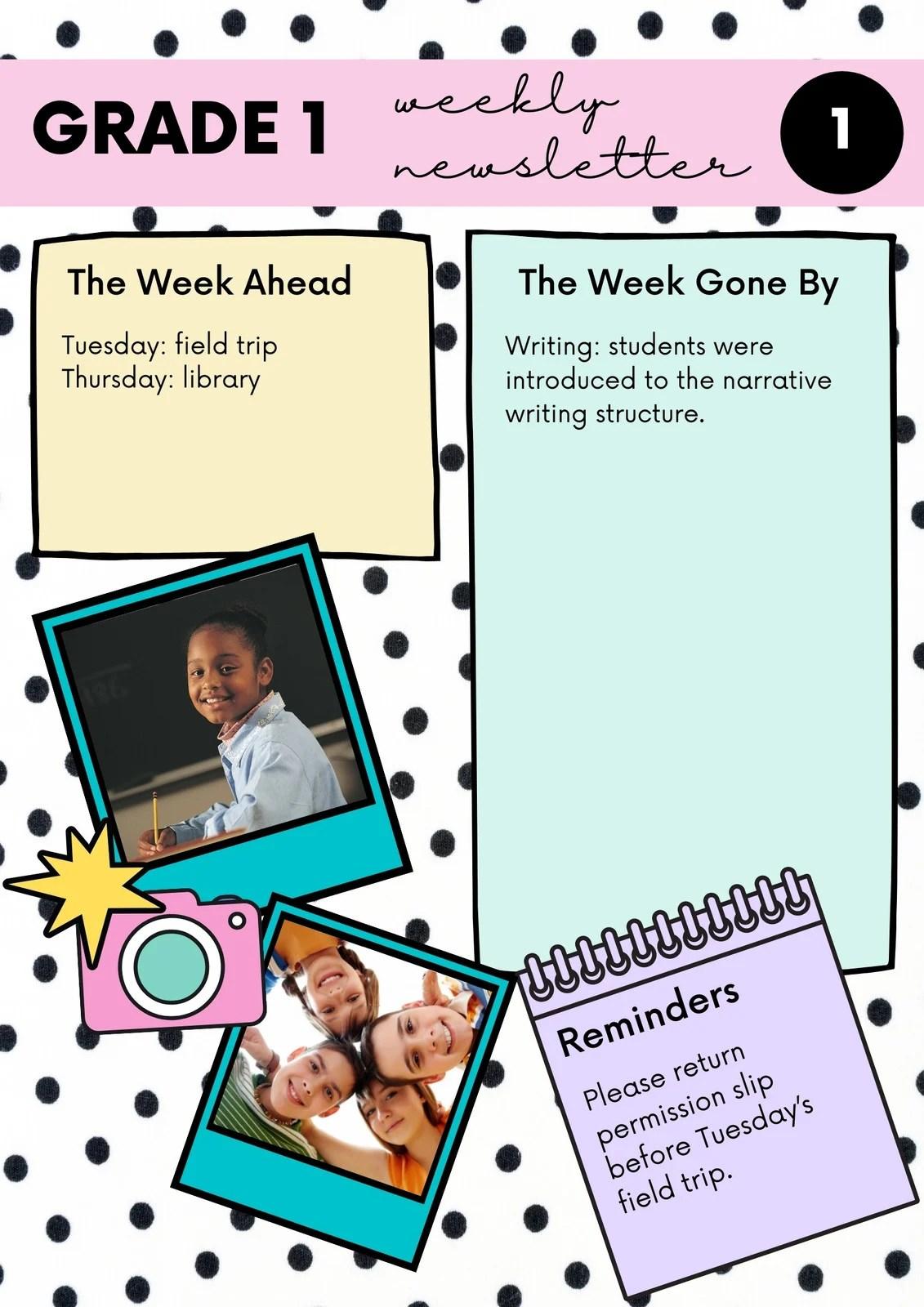 When should you start kindergarten? Free Printable Customizable School Newsletter Templates Canva