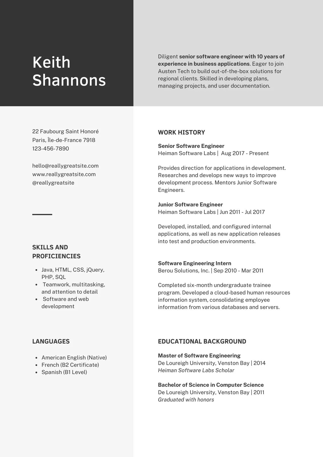 Nick is a web developer, focusing on front end development and ux,. Free Professional Resume Templates To Customize Canva