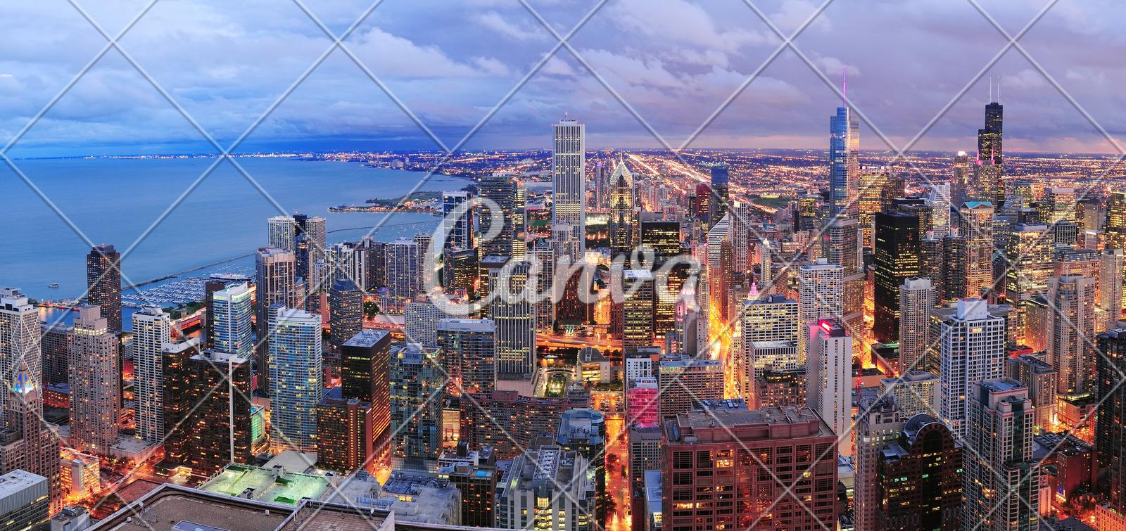 chicago skyline panorama aerial