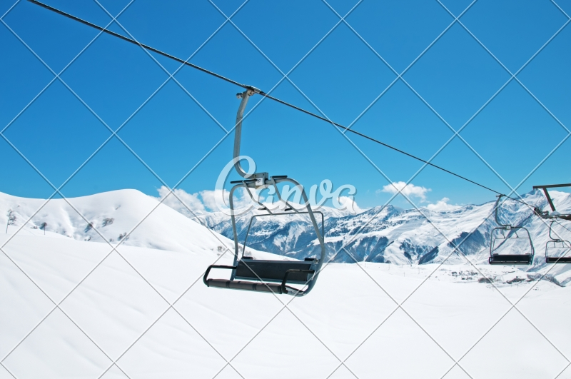 buy ski lift chair blue and ottoman chairs on bright winter day photos by canva purchase this photo