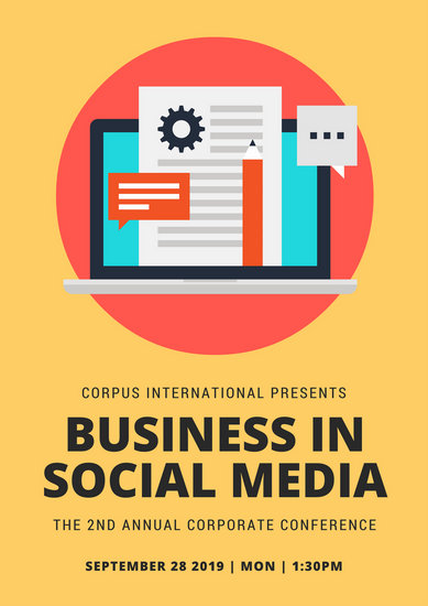 Yellow Business Social Media Conference Poster Templates