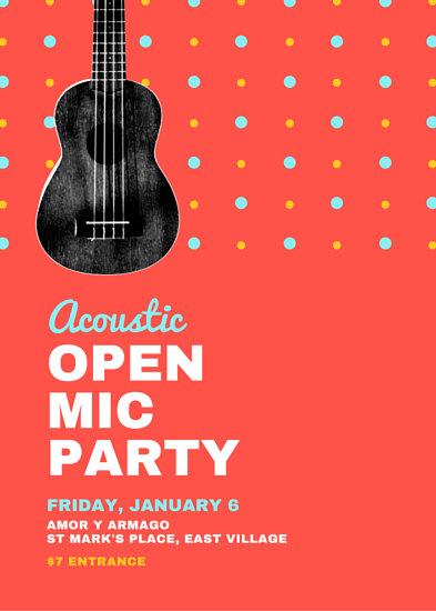 Ukulele Open Mic Party Flyer Templates By Canva