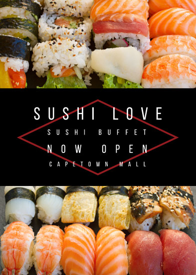 Red Diamond Sushi Buffet Flyer Templates By Canva
