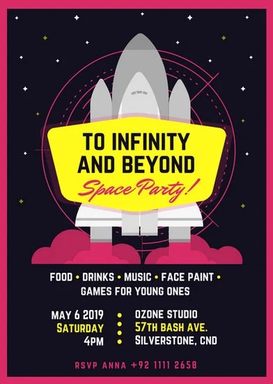 Space Themed Party Flyer  Templates by Canva