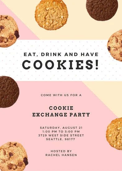 Cookie Exchange Party Flyer Templates By Canva