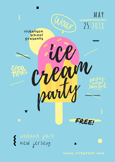Ice Cream Party Flyer Templates By Canva