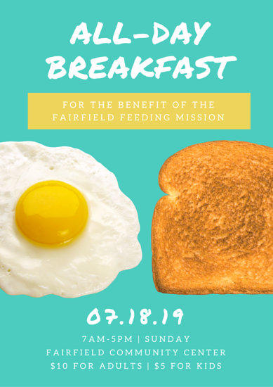 AllDay Breakfast Fundraising Event Poster  Templates by