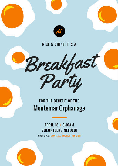 Breakfast Party Fundraising Eggs Poster Templates By Canva