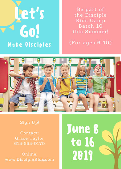 Let's Go Colorful Youth Summer Camp Church Flyer