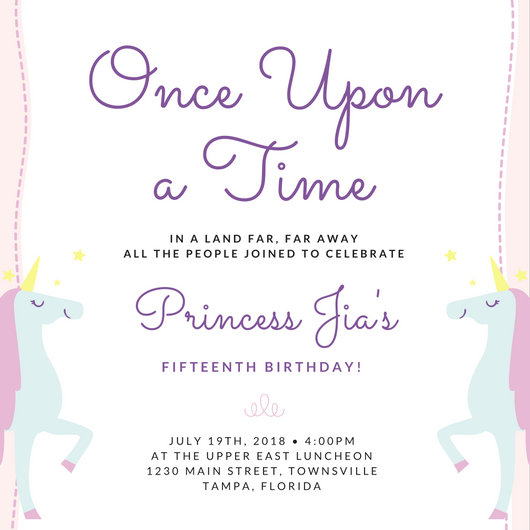Unicorn Quinceanera Party Invitation Templates By Canva