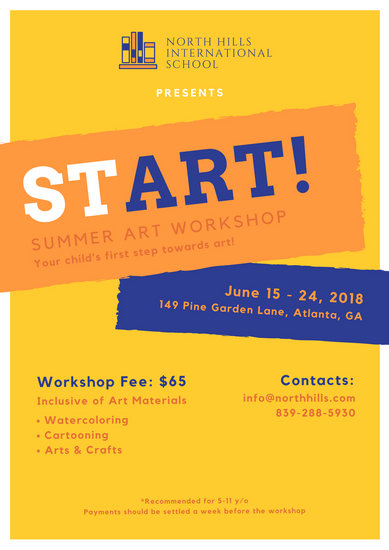 Summer Workshop School Poster Templates By Canva