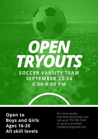 Soccer Open Tryouts Poster  Templates by Canva