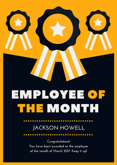 Ribbon Employee of the Month Poster  Templates by Canva