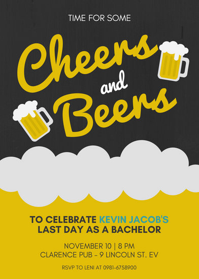 Beer Cheers Bachelor Party Invitation Templates By Canva