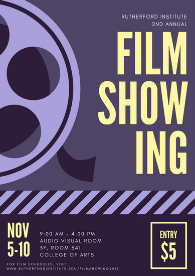 Purple Yellow Film Showing Poster  Templates by Canva