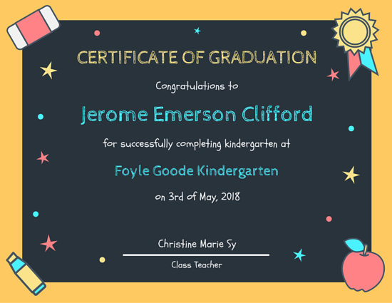 Chalkboard Kindergarten Diploma Certificate Templates By