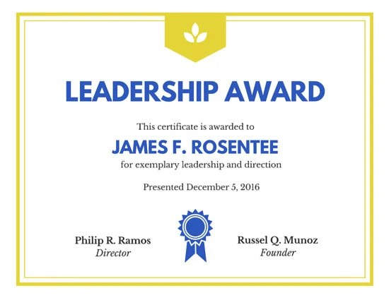 Leadership Award Certificate Templates By Canva