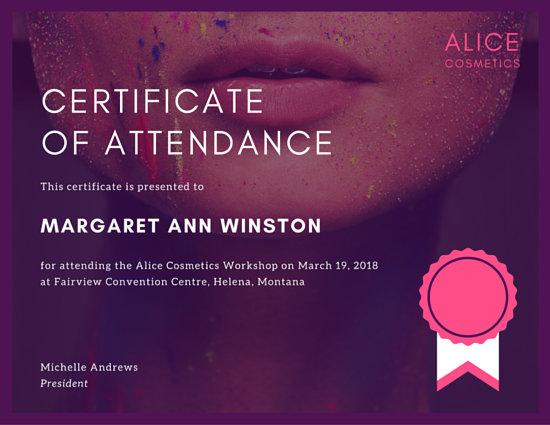 Purple Makeup Workshop Attendance Certificate  Templates by Canva