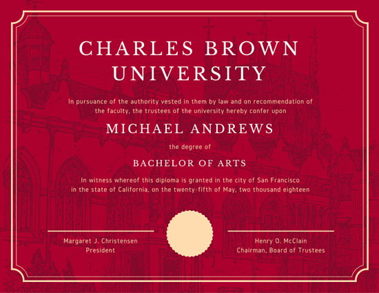 Red University Diploma Certificate  Templates by Canva