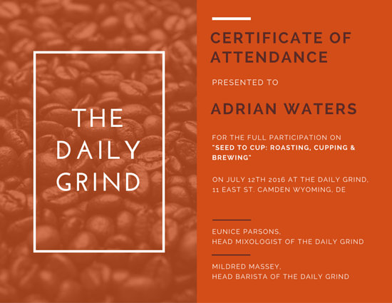 Orange Coffee Workshop Attendance Certificate Templates