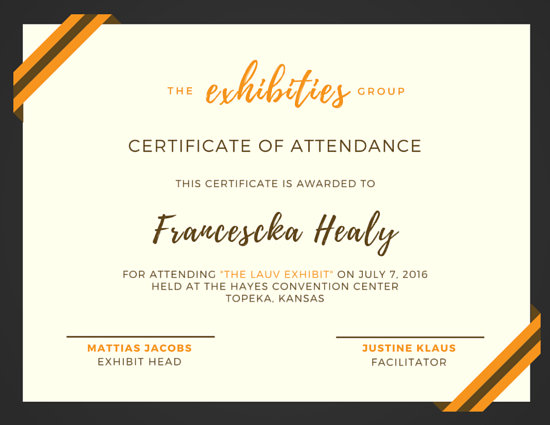 Gold And Brown Attendance Certificate Templates By Canva