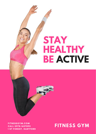 Stay Healthy Be Active Fitness Flyer Templates By Canva