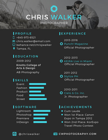 Black And Blue Photographer Resume Templates By Canva