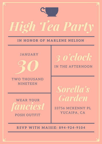 Tea Party Themed Bridal Shower Invitations