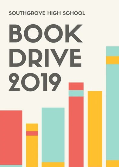 Red Yellow Blue Book Drive Fundraising Flyer Templates