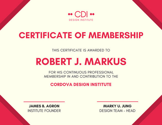 Red Membership Certificate Templates By Canva