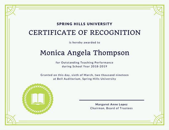Green Border Teacher Recognition Certificate Templates
