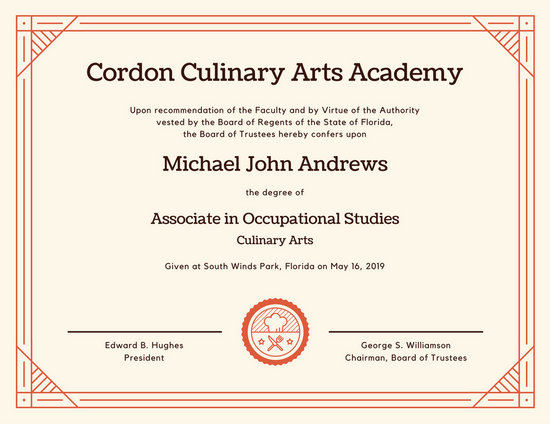 Culinary Arts Diploma Certificate Templates By Canva