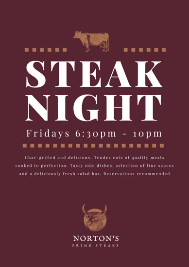 Premium Steak Night Poster  Templates by Canva
