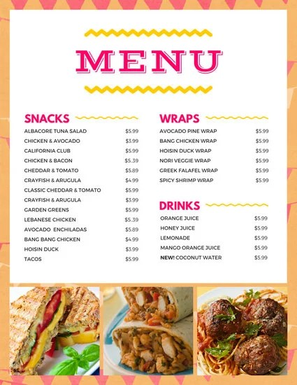 Snack Bar Templates By Canva